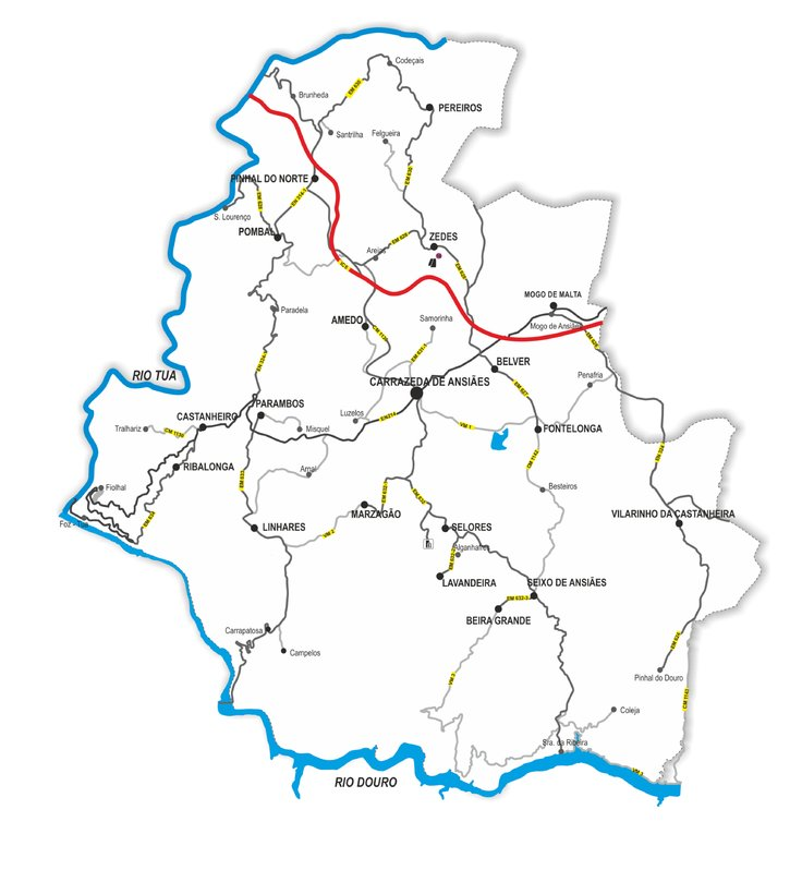 carrazeda de ansiães mapa Carrazeda de Ansiães / Mapa do concelho de Carrazeda de Ansiães carrazeda de ansiães mapa
